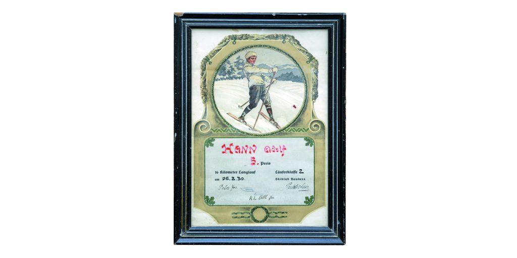Urkunde Hann Adolf (Tiroler Skimeisterschaft 1930 Nauders)